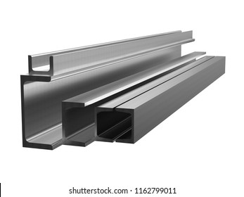 Rolled metal products. Galvanized steel channel. 3d illustration
