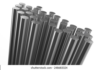 rolled metal, rods isolated on white background