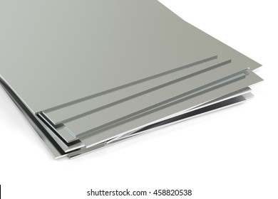 rolled metal, sheets. 3D rendering isolated on white background