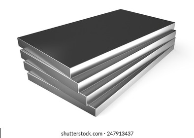 rolled metal, sheets isolated on white background