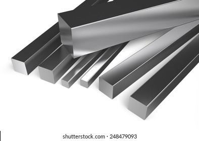 rolled metal, square stock isolated on white background