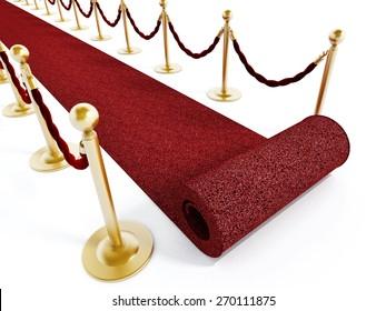 Rolled red carpet and velvet ropes isolated on white background