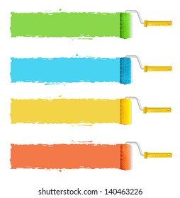 Roller brushes with colors paint for text