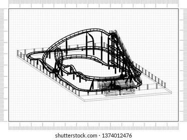 Roller coaster Architect Blueprint - 3D Rendering