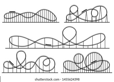 Roller coaster silhouette. Amusement park atractions, switchback attraction and rollercoaster. Fair coasters construction, amusements rollercoasters.  isolated symbols silhouettes set