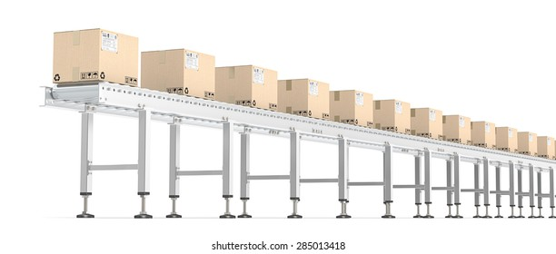 Roller Conveyor. Horizontal view of Industrial Roller Conveyor with cardboard Boxes. All steel, brown cardboard with shipping labels.