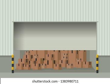Roller shutter warehouse door. Clipart image
