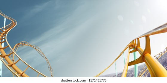 Roller-coaster background blue sky empty 3d illustration render