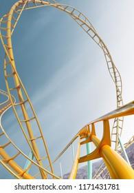 Roller-coaster background blue sky empty 3d illustration render