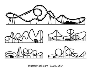 Rollercoaster silhouettes isolate on white background. Amusement park illustration. Park funfair, recreation element rollercoaster white black