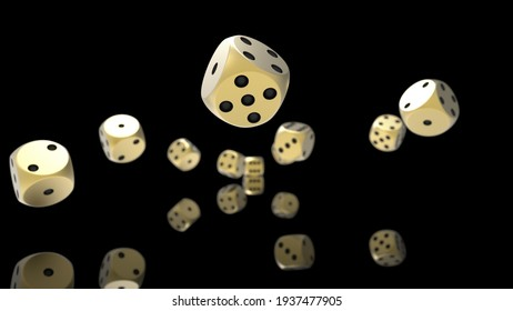 Rolling gold-black dices under white background. 3D CG. 3D illustration. 3D high quality rendering.