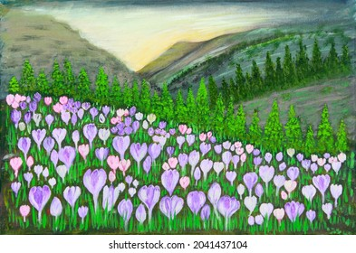 Coteau tournant rempli de crocus fleuris colorés au printemps