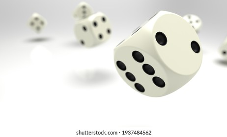 Rolling white-black dices under white background. 3D CG. 3D illustration. 3D high quality rendering.