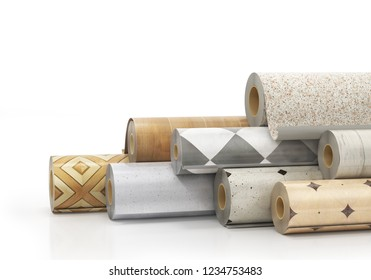 Rolls of linoleum with different texture. 3d illustration
