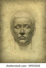 Roman bust. Pencil on paper.