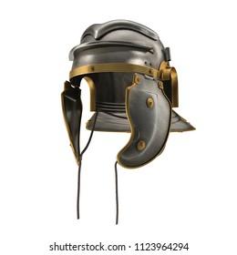 Roman Centurion Helmet on white. 3D illustration
