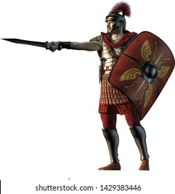 A Roman Centurion, wearing lorica segmentata armor, a scutum shield at his side, points ahead with his gladius sword. On a white background. 3D Rendering