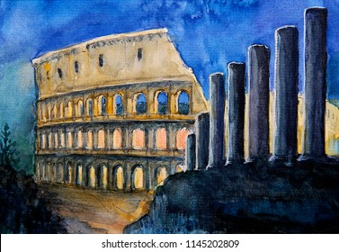 Roman cityscape of the Colosseum painted by watercolor