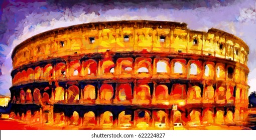 Roman coliseum colorful illumination at night oil painting