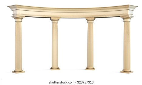 Roman columns gate isolated on white with clipping path. 3d illustration.