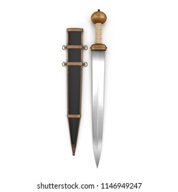 Roman Gladius Short Sword with Sheath on white. 3D illustration