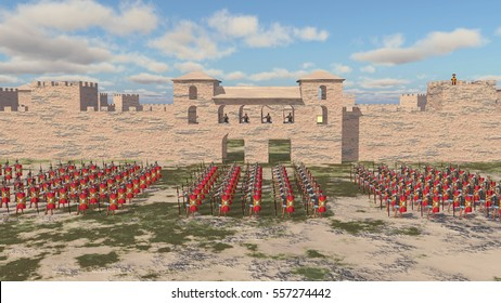 Roman military camp and legionaries Computer generated 3D illustration