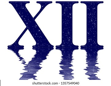 Roman numeral 12, twelve, star sky texture imitation, reflected on the water surface, isolated on white, 3d render