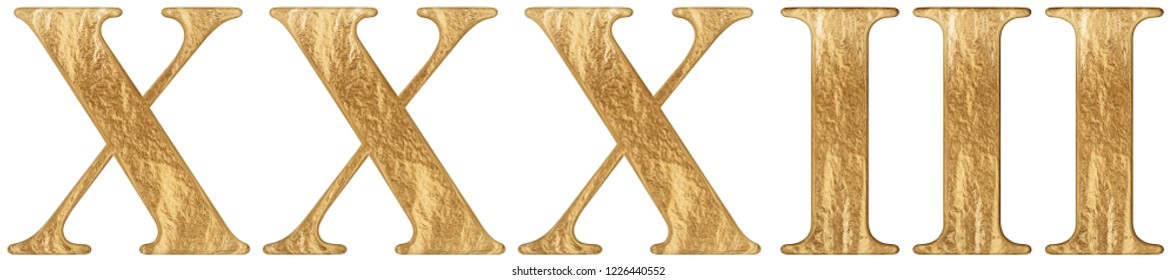 Roman numeral XXXIII, tres et triginta, 33, thirty three, isolated on white background, 3d render