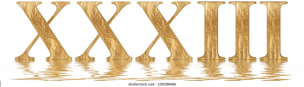 Roman numeral XXXIII, tres et triginta, 33, thirty three, reflected on the water surface, isolated on  white, 3d render