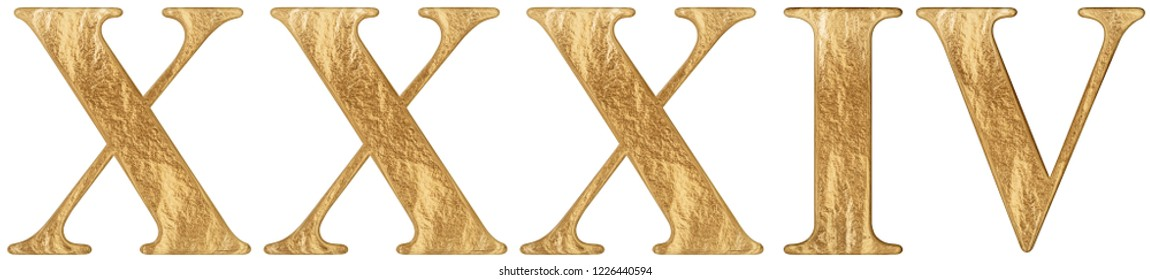 Roman numeral XXXIV, quattuor et triginta, 34, thirty four, isolated on white background, 3d render