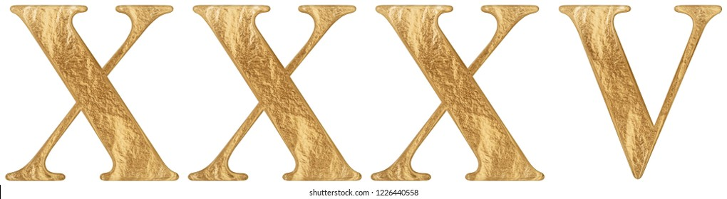 Roman numeral XXXV, quinque et triginta, 35, thirty five, isolated on white background, 3d render