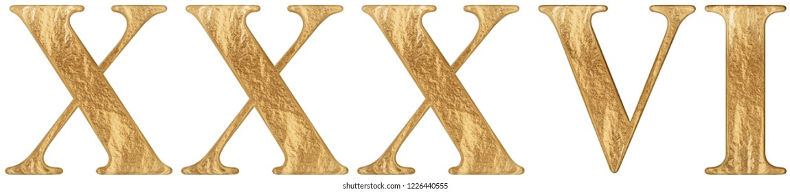 Roman numeral XXXVI, sex et triginta, 36, thirty six, isolated on white background, 3d render