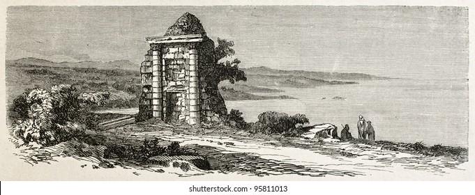 Roman sepulcher in Taksebt, Algeria. Created by Dohousset, published on Le Tour du Monde, Paris, 1867