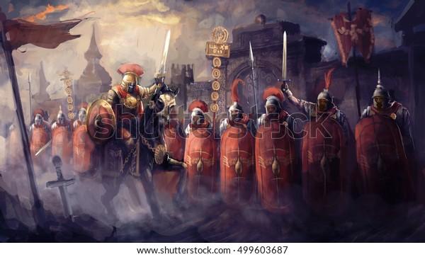 Soldados romanos e seu general