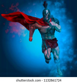 roman warrior  in a magic background 3d illustration