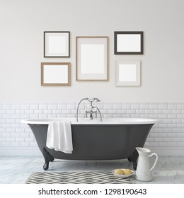 Romance bathroom. Black bathroom near white wall. Five different frames on the wall. Interior and frame mock-up. 3d render.