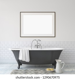 Romance bathroom. Interior and frame mock-up. 3d render.