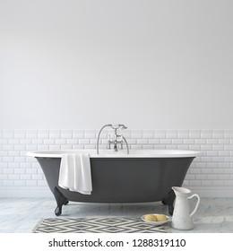 Romance bathroom. Interior mock-up. 3d rendering.