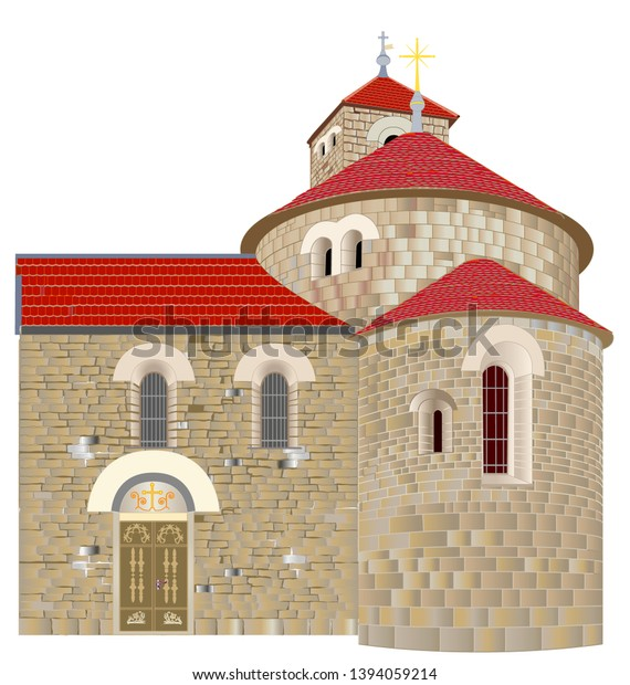Romanesque rotunda to mid-12th century. with a protruding part-apse and a square tower serves as the cemetery chapel of st. Mary Magdalene on the outskirts of Prague, Czech Republic