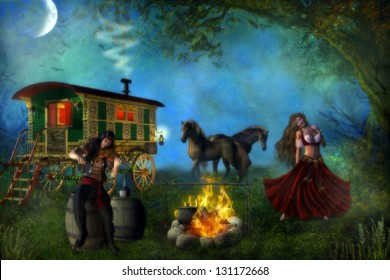 Romani gypsy male and female couple with their gypsy caravan and horses, dancing and playing the fiddle by a campfire in the forest.