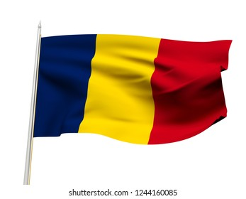 Romania flag floating in the wind with a White sky background. 3D illustration.