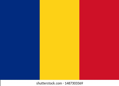 Romania flag. Official colors. Correct proportion