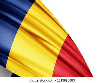 Romania   flag of silk with copyspace for your text or images and white background-3D illustration