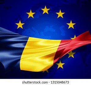 Romania   flag of silk with copyspace for your text or images and european union flag background-3D illustration