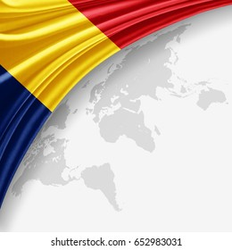 Romania flag of silk with copyspace for your text or images and World map background-3D illustration