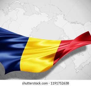 Romania flag of silk and world map background -3D illustration