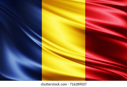 Romania flag of silk-3D illustration