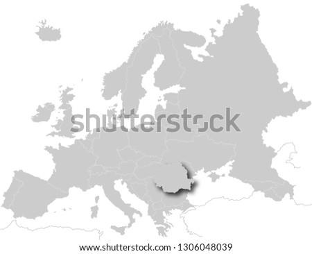 Romania On Map Of Europe.Royalty Free Stock Illustration Of Romania On Map Europe Stock