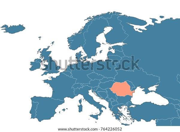 Romania On Map Europe Stock Illustration 764226052