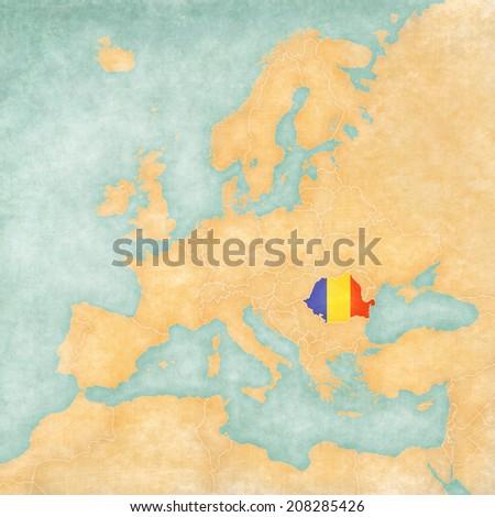 Romania Romanian Flag On Map Europe Stock Illustration 208285426